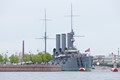"""Cruiser Aurora, on display in St. Petersburg, Russia.  100 years ago this November, she fired the first shot signaling the beginning of the Bolshevik """"October Revolution""""."""