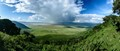Stitched panorama of the Ngorongoro crater in Tanzania