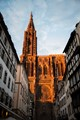 For a few minutes at sunset, the Cathedral of Strasbourg may look like a flame towering over the town