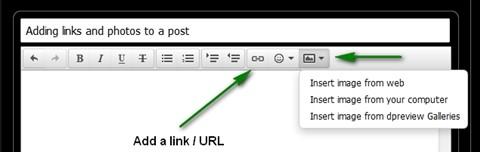 Adding links (URLs) and photos