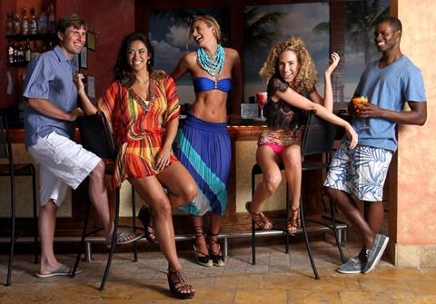 Group shot at bar