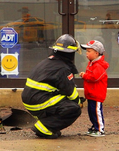 fireman and little boy