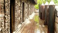 Historic Decking in monsoon rain Mandalay Burma