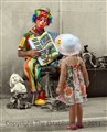 Girl and Clown in Split, Croatia