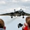 Avro Vulcan: Making a very low (and noisy) pass over the runway at RAF Waddington during the airshow there.