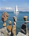 Rocks and sail.