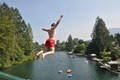 The Cowichan River in Lake Cowichan is a popular place to tube, swim, or jump into the river.