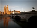 Münsterbrücke and Grossmünster at sunset