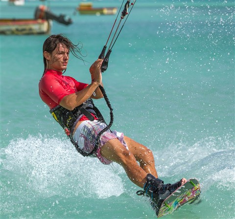Beautiful Picture of a Talented Kitesurfer in Aruba