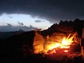 camp fire in Dolomiti