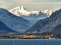 Rising above the Lynn Canal, south of Haines, Alaska.  Mount Young (west)