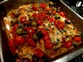 Baked cod with olives, capers, and grape tomatoes