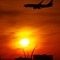 Sunset, U.S. Air Force memorial, and aircraft -a