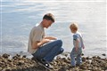 "Father and Son ""Flat stone skipping"""