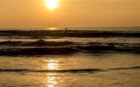 Sunset Surfing Del Mar, Ca