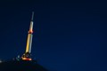 "this may look like a rocket, but it's an antena on top of a mountain in center of France called ""Puy de Dôme"""