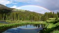Late afternoon rainbow at Pahaska Teepe Lodge, just outside the East Entrance to Yellowstone National Park.