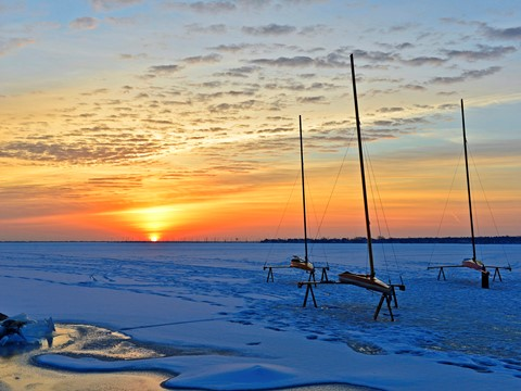 #2-Iceboats at dawn, Barnegat Bay, from Island Heights