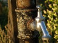 Old water pipe with new tap in vineyard
