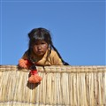 Little candid girl at  Titicaca lake - Peru