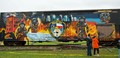 Box car with mural at Houston Fire Academy in Houston, Texas