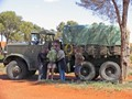 Vintage army truck, with vintage crew!