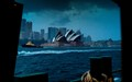 Stormy departure at Sydney harbor