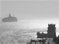 Cruise ship leaving Lisbon, Portugal