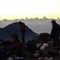 Sunrise on top of volcano Santa Maria in Guatemala; temperatures around freecing point