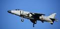 Harrier jump jet preparing to land.